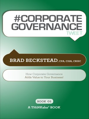 cover image of #CORPORATE GOVERNANCE tweet Book01