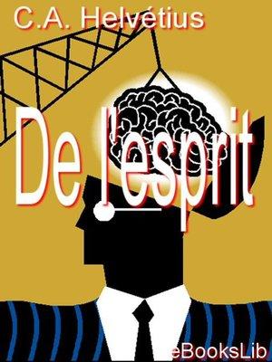 cover image of De l'esprit