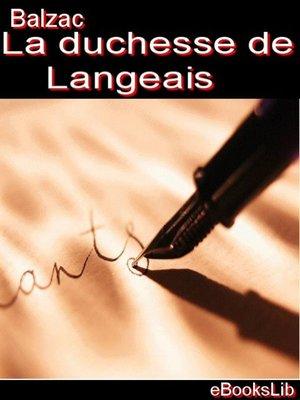 cover image of La duchesse de Langeais