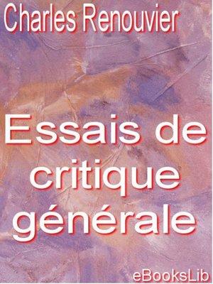 cover image of Essais de critique générale