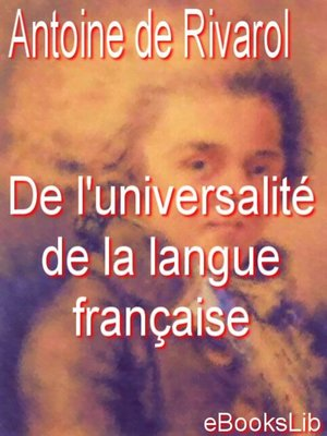cover image of De l'universalité de la langue française