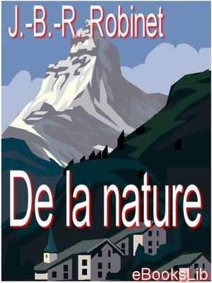 cover image of De la nature