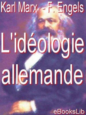 cover image of L'idéologie allemande