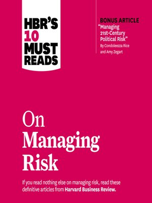 cover image of HBR's 10 Must Reads on Managing Risk