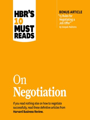 cover image of HBR's 10 Must Reads on Negotiation