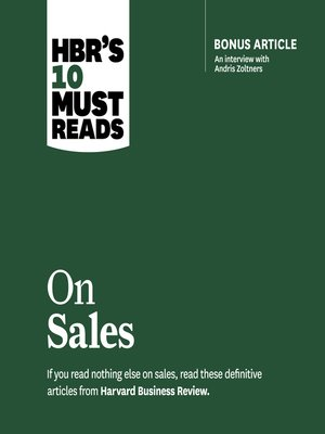 cover image of HBR's 10 Must Reads on Sales