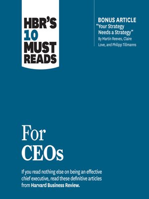 cover image of HBR's 10 Must Reads for CEOs
