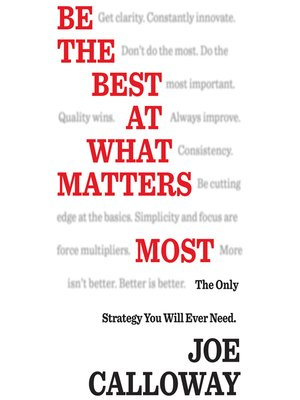 cover image of Be the Best at What Matters Most