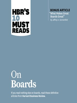cover image of HBR's 10 Must Reads on Boards