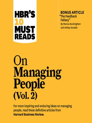 cover image of HBR's 10 Must Reads on Managing People, Volume 2