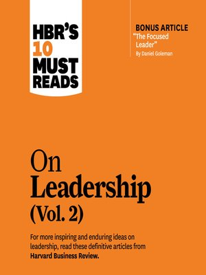 cover image of HBR's 10 Must Reads on Leadership, Volume 2