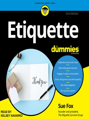 cover image of Etiquette for Dummies