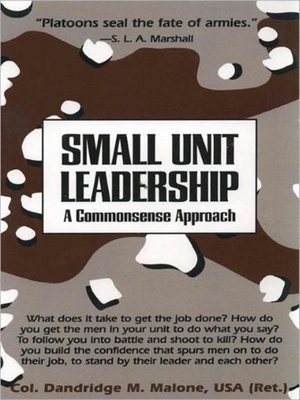 cover image of Small Unit Leadership