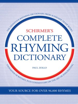 cover image of Schirmer's Complete Rhyming Dictionary