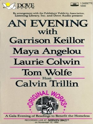 cover image of An Evening with Garrison Keillor, Maya Angelou, Laurie Colwin and Tom Wolfe