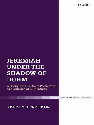 cover image of Jeremiah Under the Shadow of Duhm