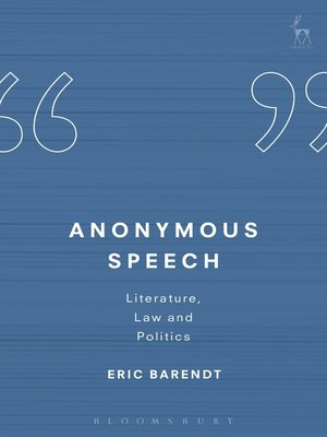 cover image of Anonymous Speech