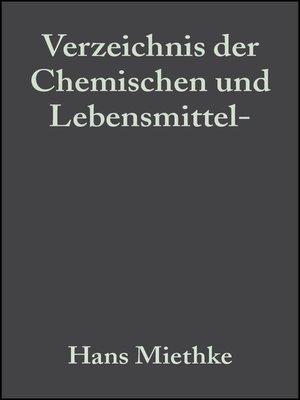 cover image of Verzeichnis der Chemischen und Lebensmittel- Untersuchungsämter in der Bundesrepublik Deutschland