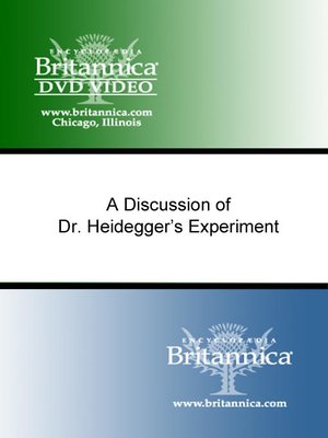 cover image of A Discussion of Dr. Heidegger's Experiment