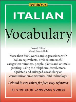 Italian vocabulary by marcel danesi overdrive rakuten overdrive italian vocabulary m4hsunfo