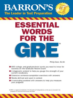 Barrons educational series incpublisher overdrive rakuten cover image of essential words for the gre fandeluxe Choice Image