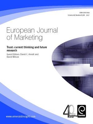 cover image of European Journal of Marketing, Volume 41, Issue 9 & 10