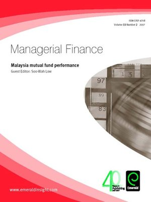 cover image of Managerial Finance, Volume 33, Issue 2