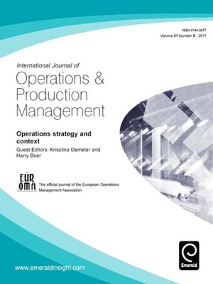 cover image of International Journal of Operations & Production Management, Volume 31, Issue 5