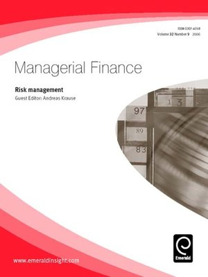 cover image of Managerial Finance, Volume 32, Issue 9