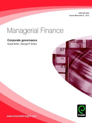 cover image of Managerial Finance, Volume 36, Issue 3