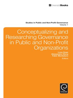 cover image of Studies in Public and Non-Profit Governance, Volume 1