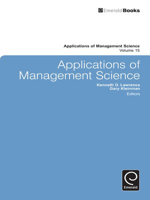 cover image of Applications of Management Science