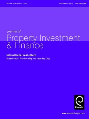 cover image of Journal of Property Investment & Finance, Volume 22, Issue 1