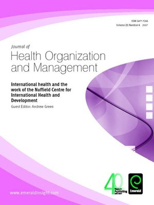 cover image of Journal of Health Organization and Management, Volume 21, Issue 6