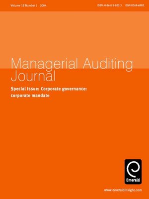 cover image of Managerial Auditing Journal, Volume 19, Issue 1