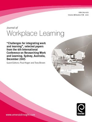 cover image of Journal of Workplace Learning, Volume 18, Issue 7 & 8