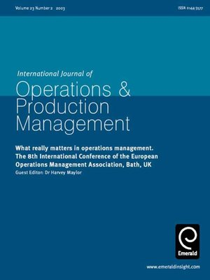 journal of operation management perspectives on The mission of journal of operations management (jom) is to publish original, empirical operations management research that demonstrates both academic and practical relevance academic relevance means the research contributes to on-going academic discussions and debates on relevant topics in.