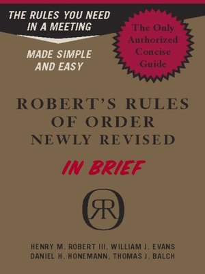 cover image of Robert's Rules of Order Newly Revised In Brief