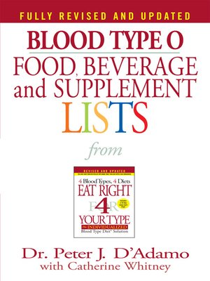 cover image of Blood Type O Food, Beverage and Supplemental Lists
