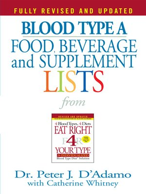 cover image of Blood Type A Food, Beverage and Supplemental Lists