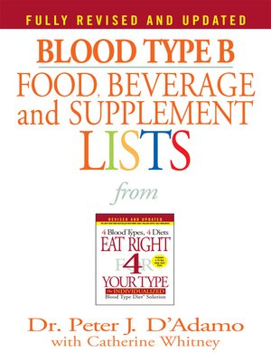 cover image of Blood Type B Food, Beverage and Supplemental Lists