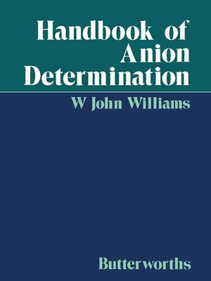 cover image of Handbook of Anion Determination
