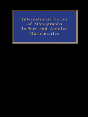 cover image of International Series in Pure and Applied Mathematics, Volume 15