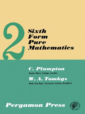 cover image of Sixth Form Pure Mathematics, Volume 2