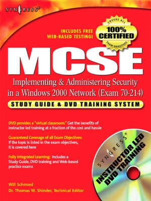 cover image of MCSE/MCSA Implementing and Administering Security in a Windows 2000 Network (Exam 70-214)