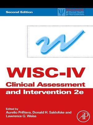 cover image of WISC-IV Clinical Assessment and Intervention