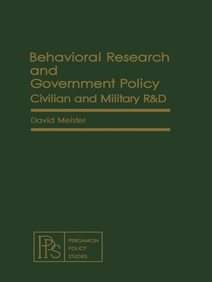 cover image of Behavioral Research and Government Policy