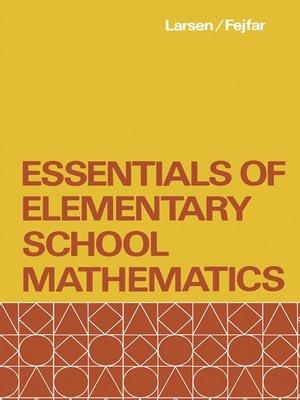 cover image of Essentials of Elementary School Mathematics