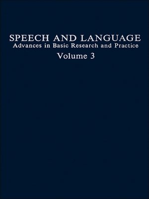 cover image of Speech and Language, Volume 3