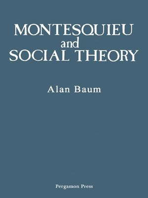cover image of Montesquieu and Social Theory
